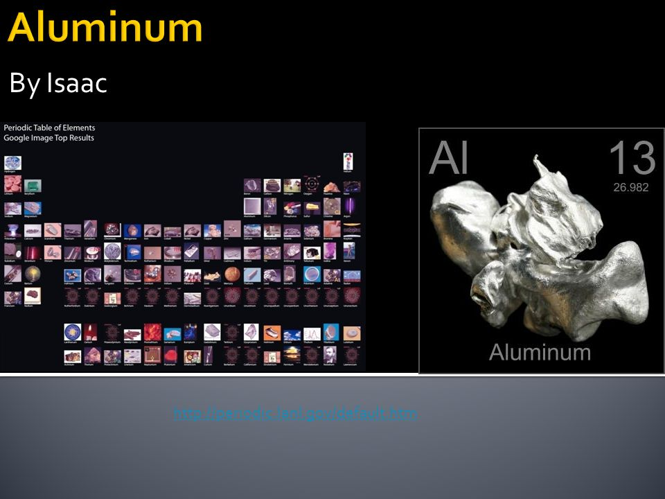 Aluminum By Isaac http://periodic.lanl.gov/default.htm