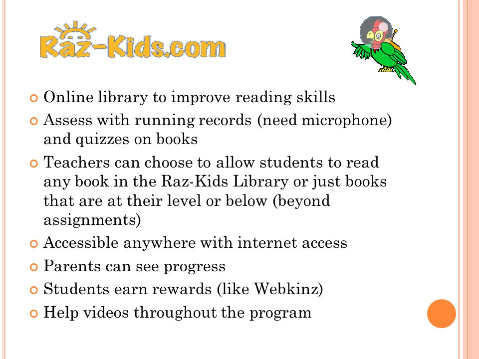 Online library to improve reading skills