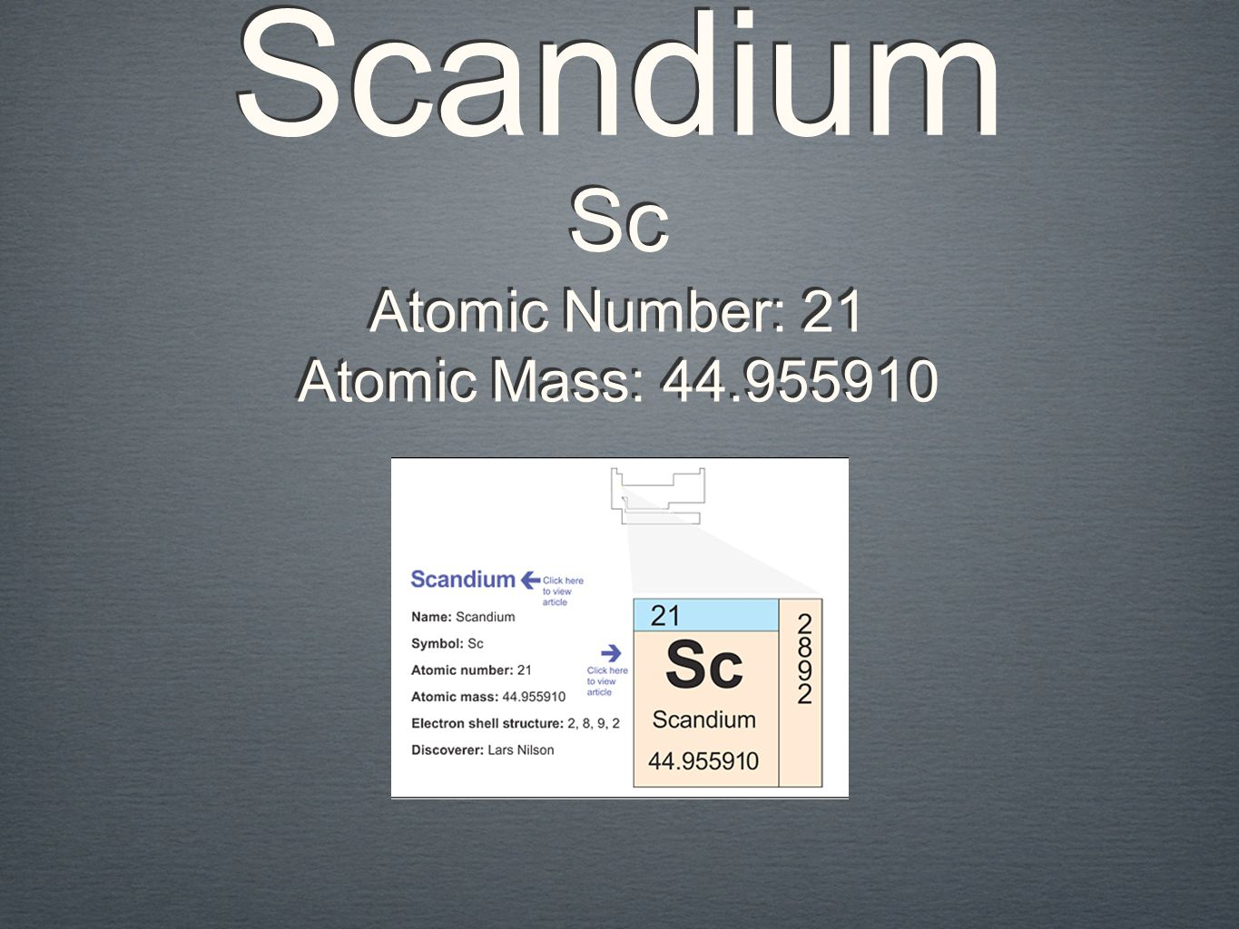Scandium Sc Atomic Number: 21 Atomic Mass: 44.955910