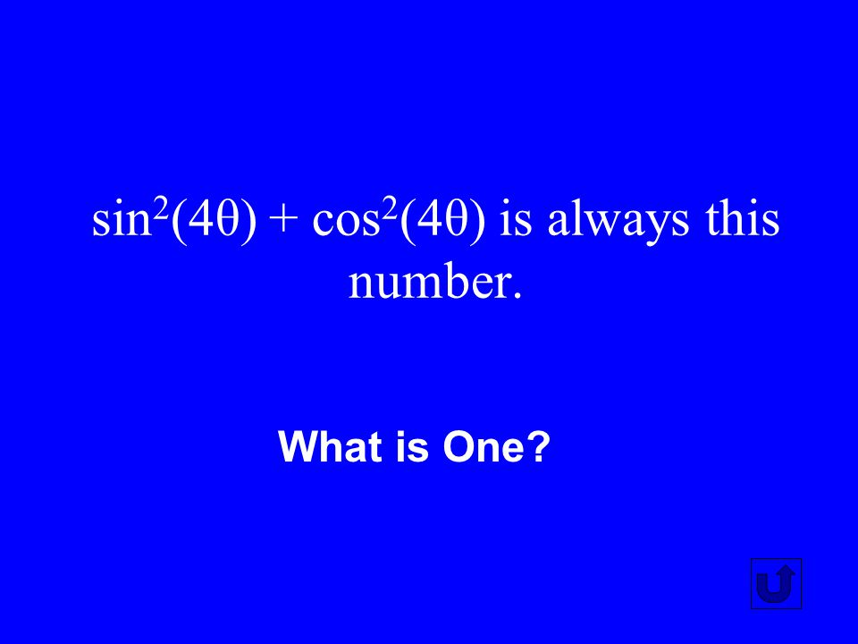 sin2(4θ) + cos2(4θ) is always this number.