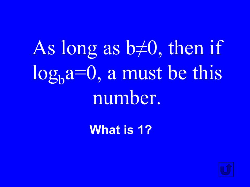As long as b≠0, then if logba=0, a must be this number.