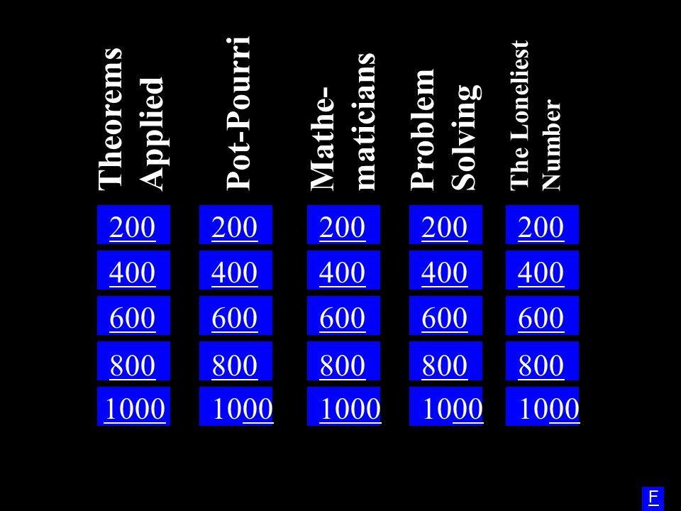 Theorems Applied Mathe-maticians Problem Solving Pot-Pourri 200 200