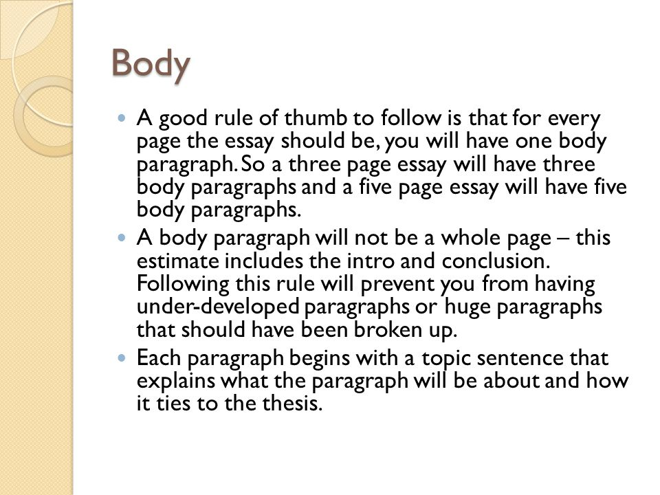 parts of an essay a review ppt video online 10 body