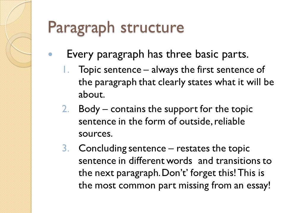 Paragraph structure Every paragraph has three basic parts.