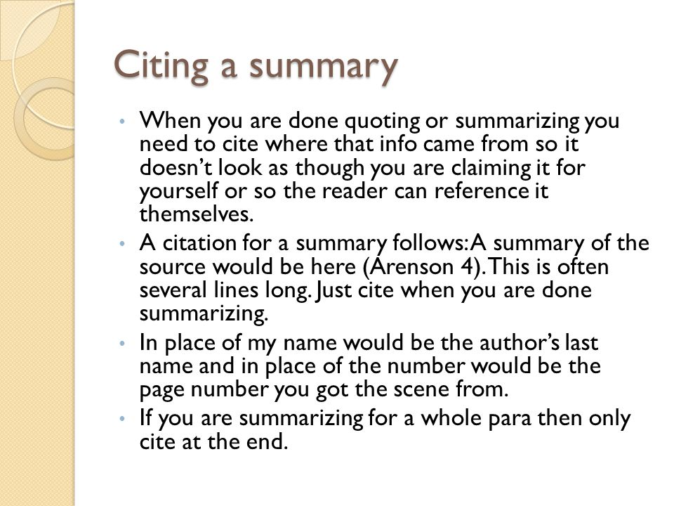 Citing a summary