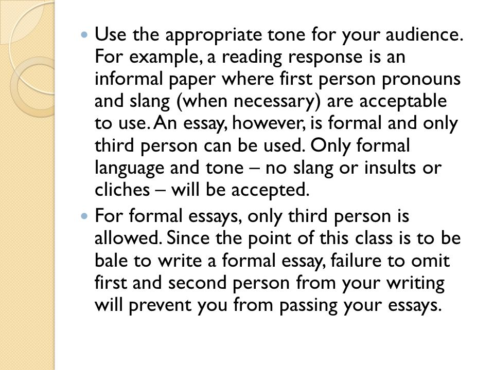 can you use first person in an expository essay How to write an expository essay provide this information in your first paragraph if you are writing if you are writing about a person.