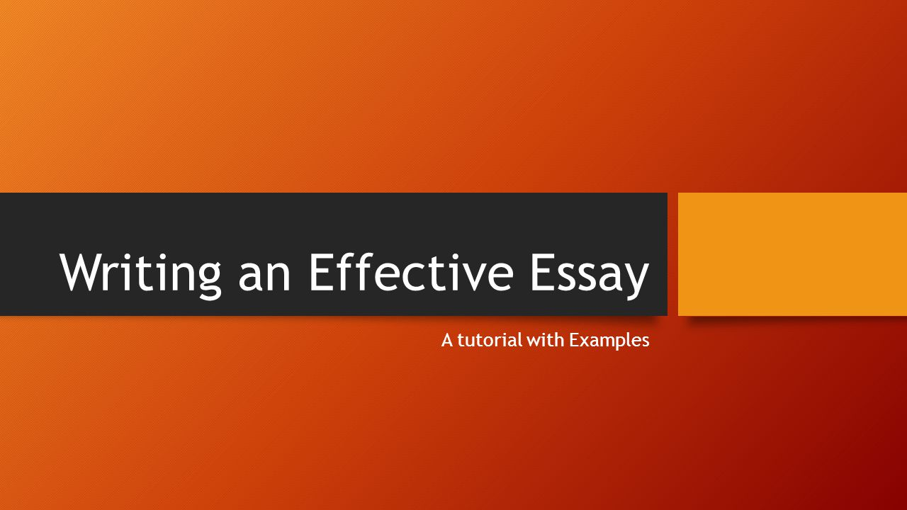 effective writing of essay