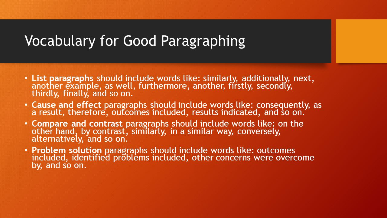 Vocabulary for Good Paragraphing