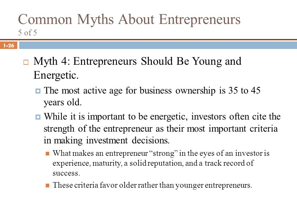 Common Myths About Entrepreneurs 5 of 5