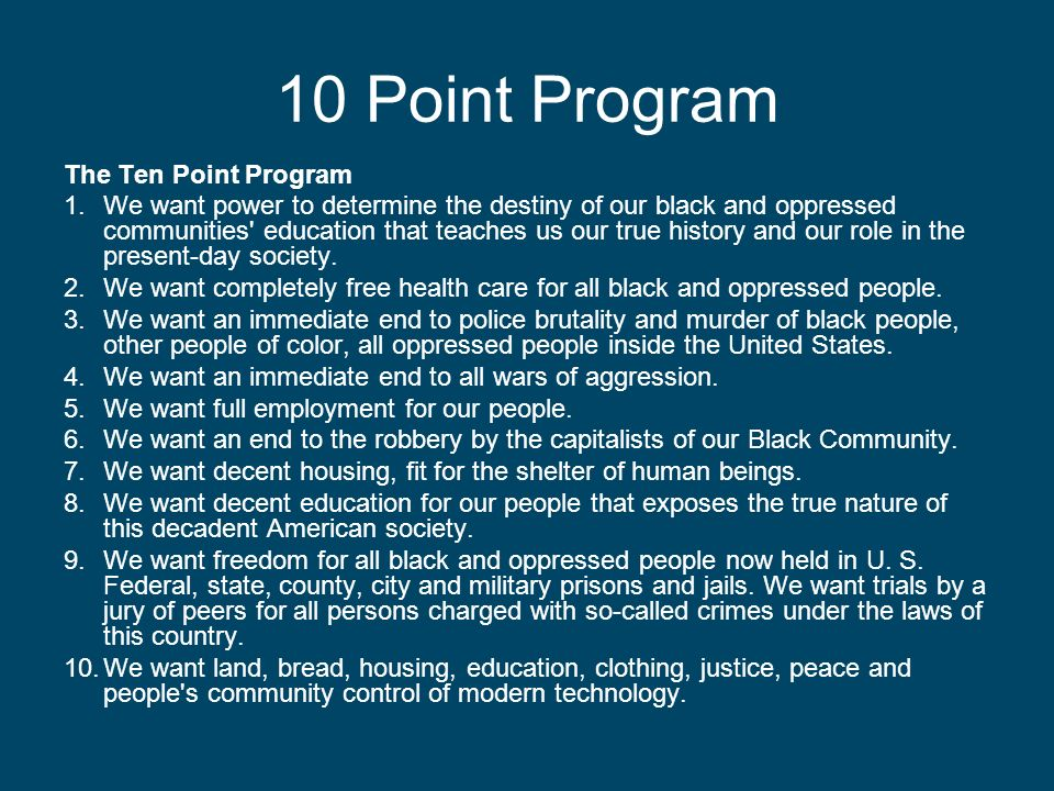 10 Point Program The Ten Point Program