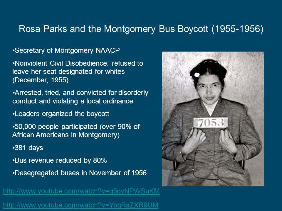 Rosa Parks and the Montgomery Bus Boycott (1955-1956)
