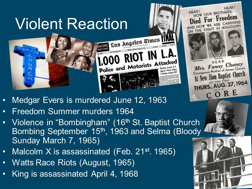 Violent Reaction Medgar Evers is murdered June 12, 1963