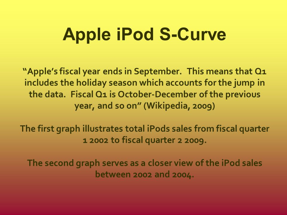 Apple iPod S-Curve Apple's fiscal year ends in September