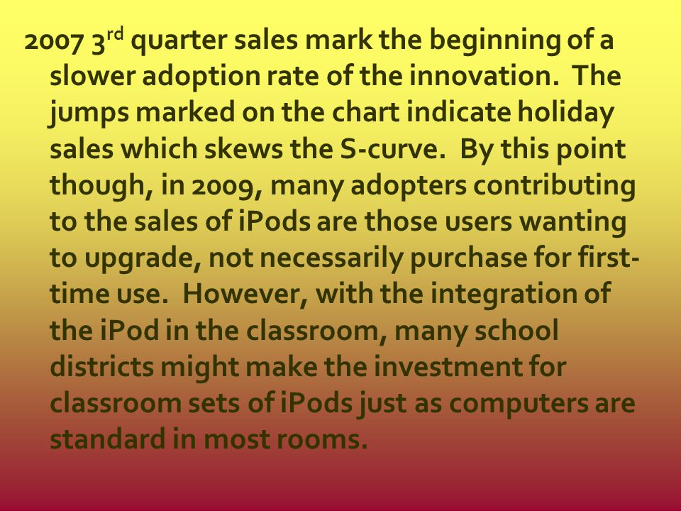 2007 3rd quarter sales mark the beginning of a slower adoption rate of the innovation.
