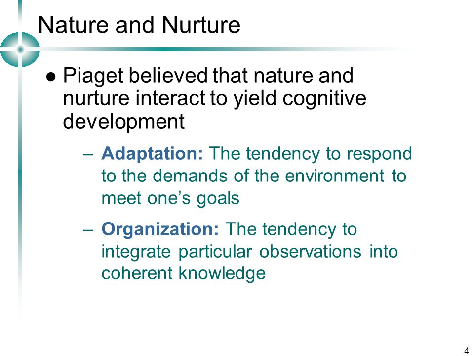 Nature and Nurture Piaget believed that nature and nurture interact to yield cognitive development.
