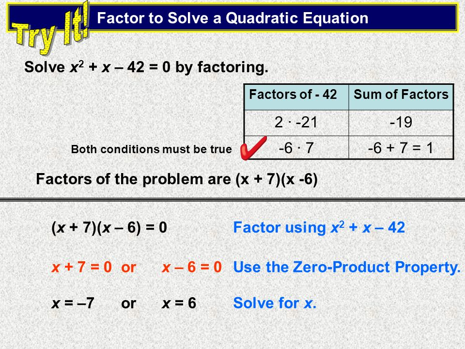 Factor to Solve a Quadratic Equation