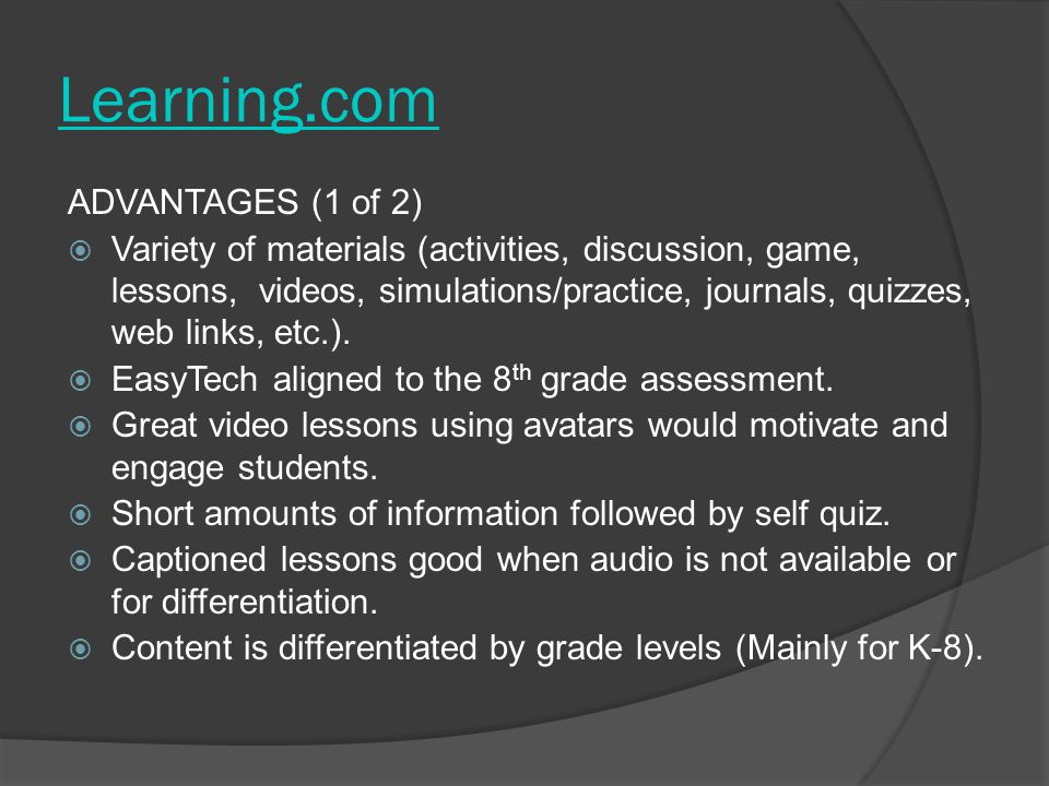 Learning.com ADVANTAGES (1 of 2)