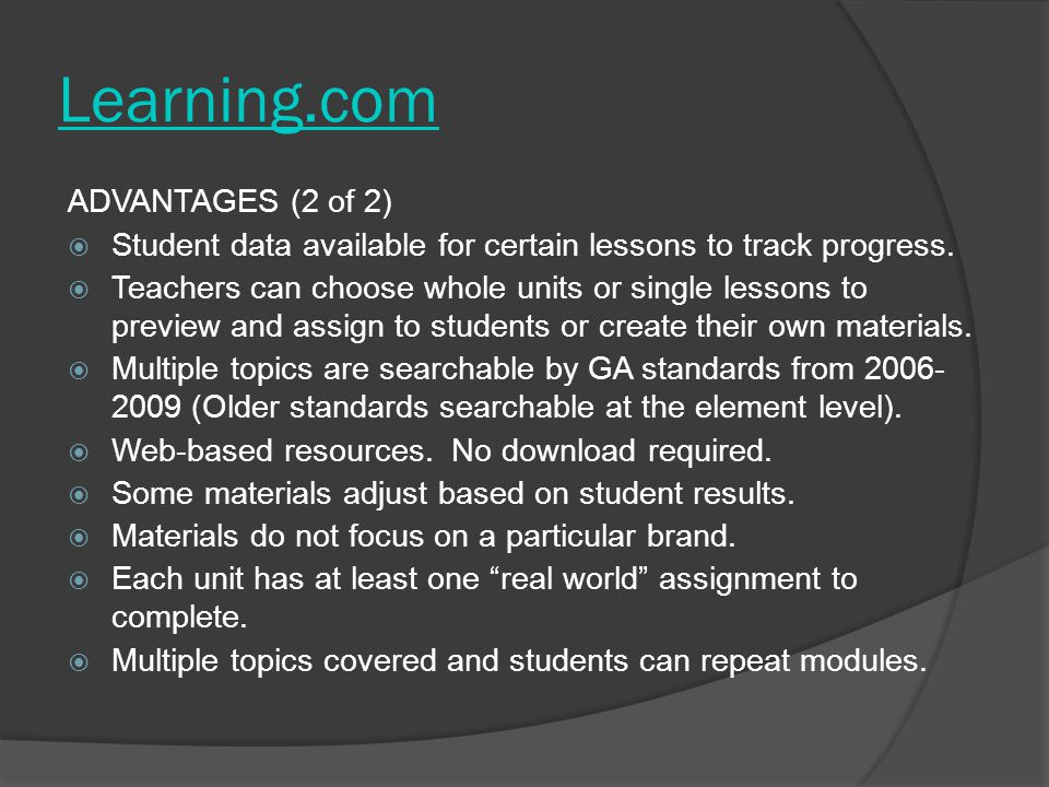 Learning.com ADVANTAGES (2 of 2)