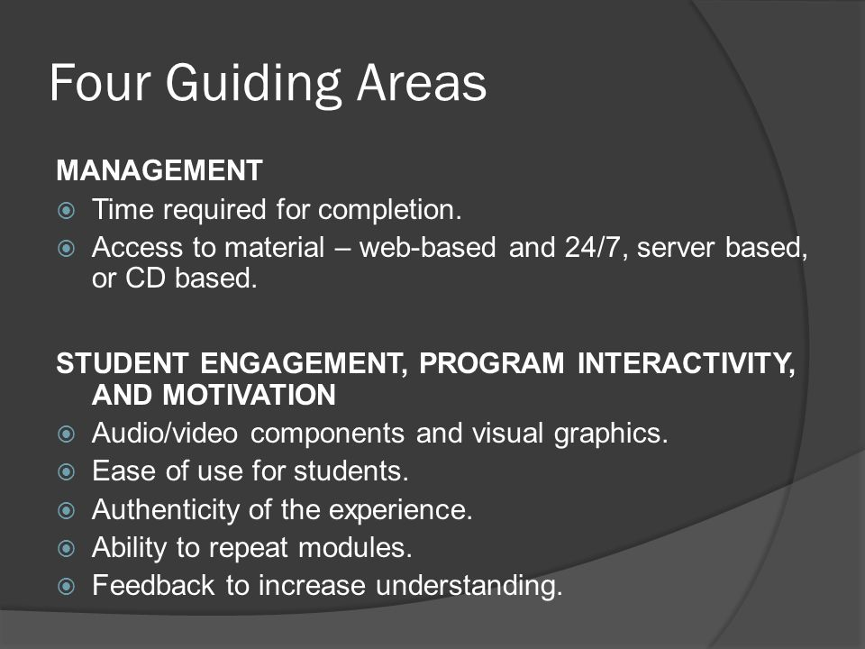 Four Guiding Areas MANAGEMENT Time required for completion.