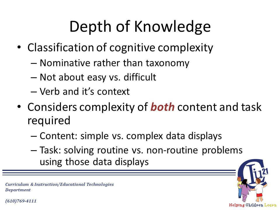 Depth of Knowledge Classification of cognitive complexity
