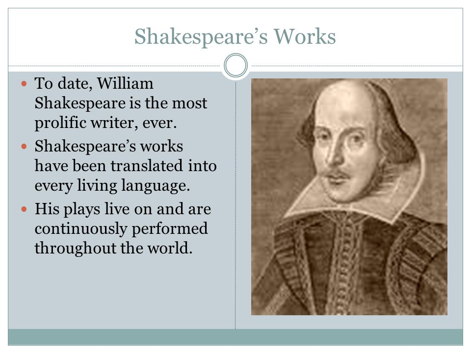 Shakespeare's Works To date, William Shakespeare is the most prolific writer, ever.