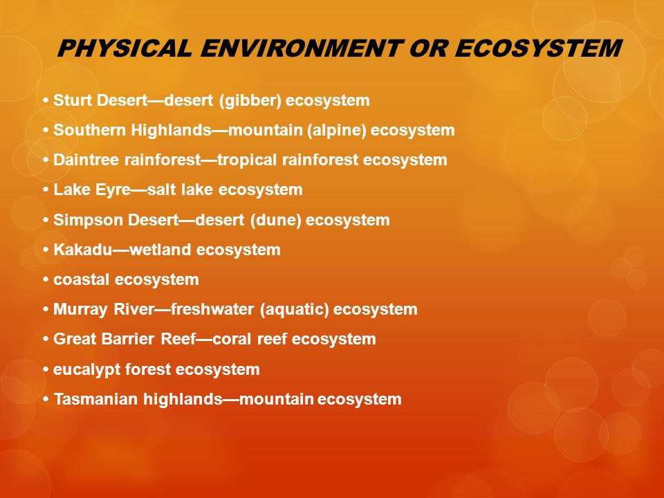 PHYSICAL ENVIRONMENT OR ECOSYSTEM