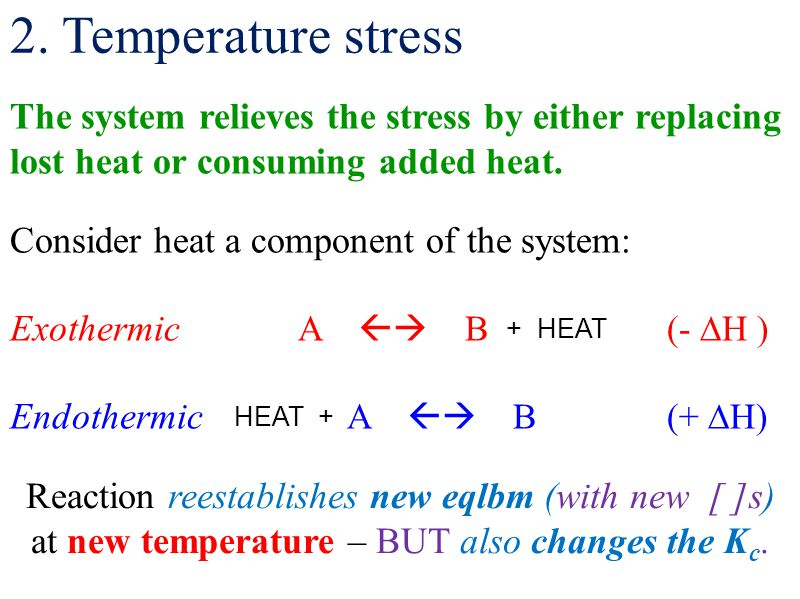2. Temperature stress The system relieves the stress by either replacing lost heat or consuming added heat.