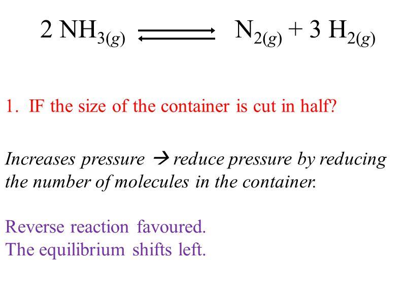 2 NH3(g) N2(g) + 3 H2(g) 1. IF the size of the container is cut in half