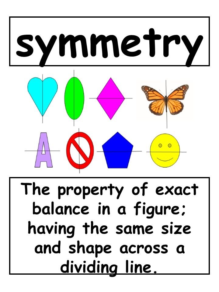 symmetry The property of exact balance in a figure; having the same size and shape across a dividing line.