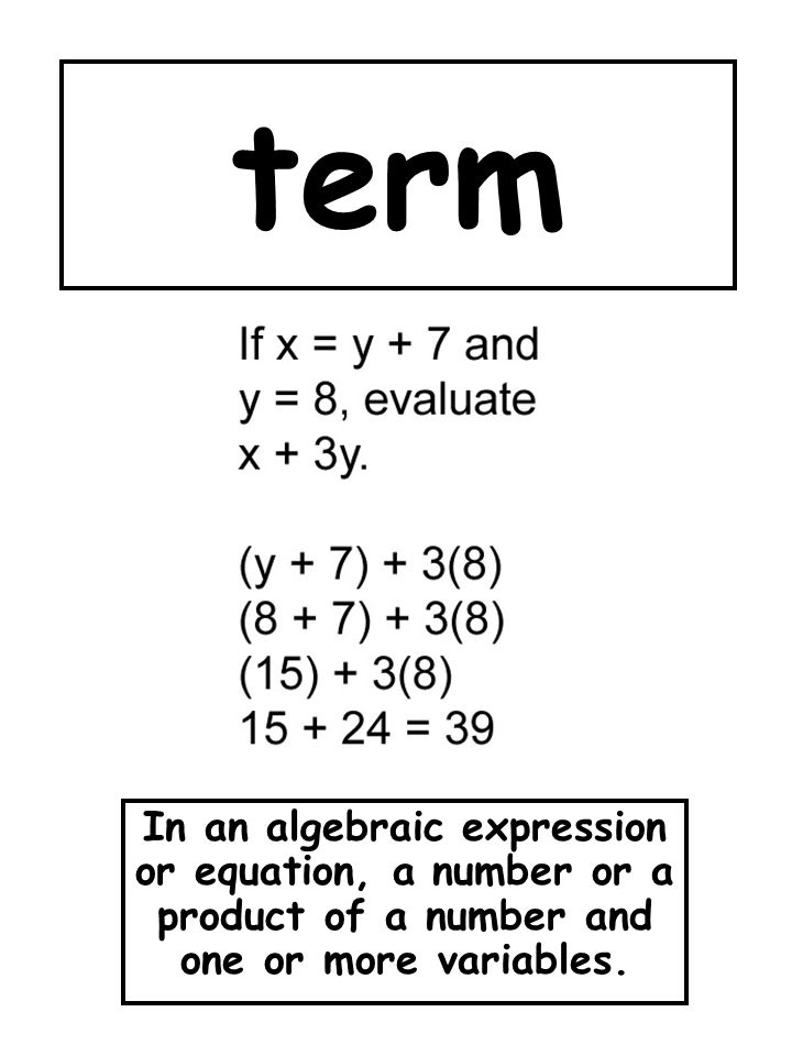 term In an algebraic expression or equation, a number or a product of a number and one or more variables.