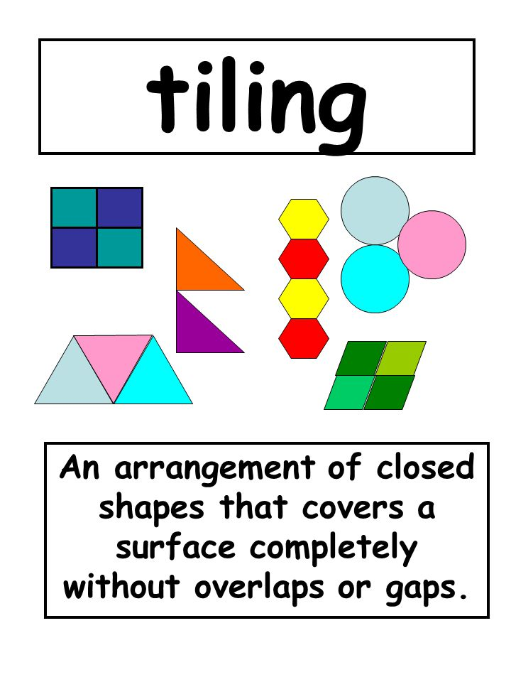 tiling An arrangement of closed shapes that covers a surface completely without overlaps or gaps.