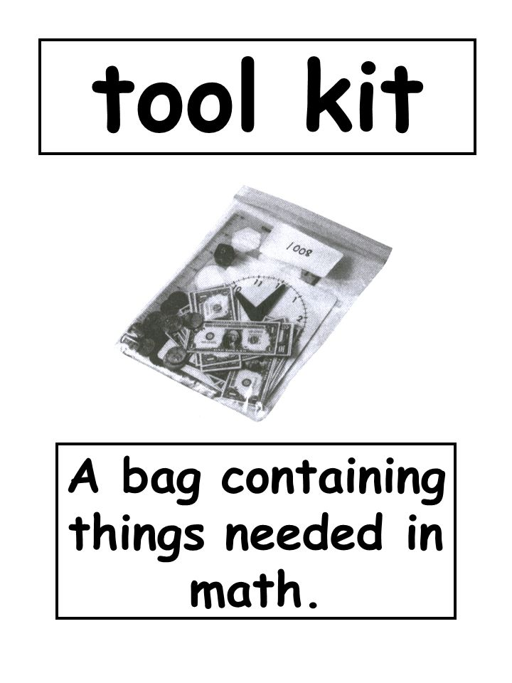 A bag containing things needed in math.