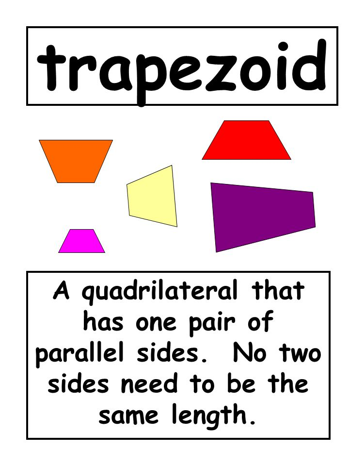trapezoid A quadrilateral that has one pair of parallel sides.