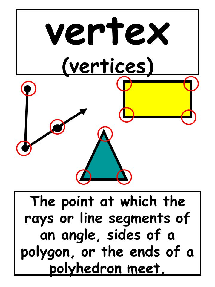 vertex (vertices) The point at which the rays or line segments of an angle, sides of a polygon, or the ends of a polyhedron meet.