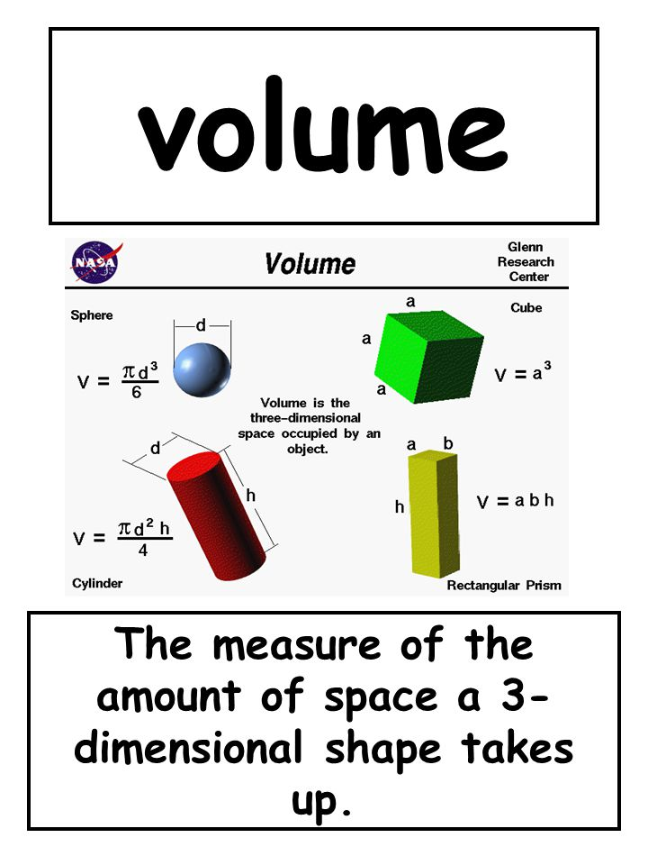 The measure of the amount of space a 3-dimensional shape takes up.