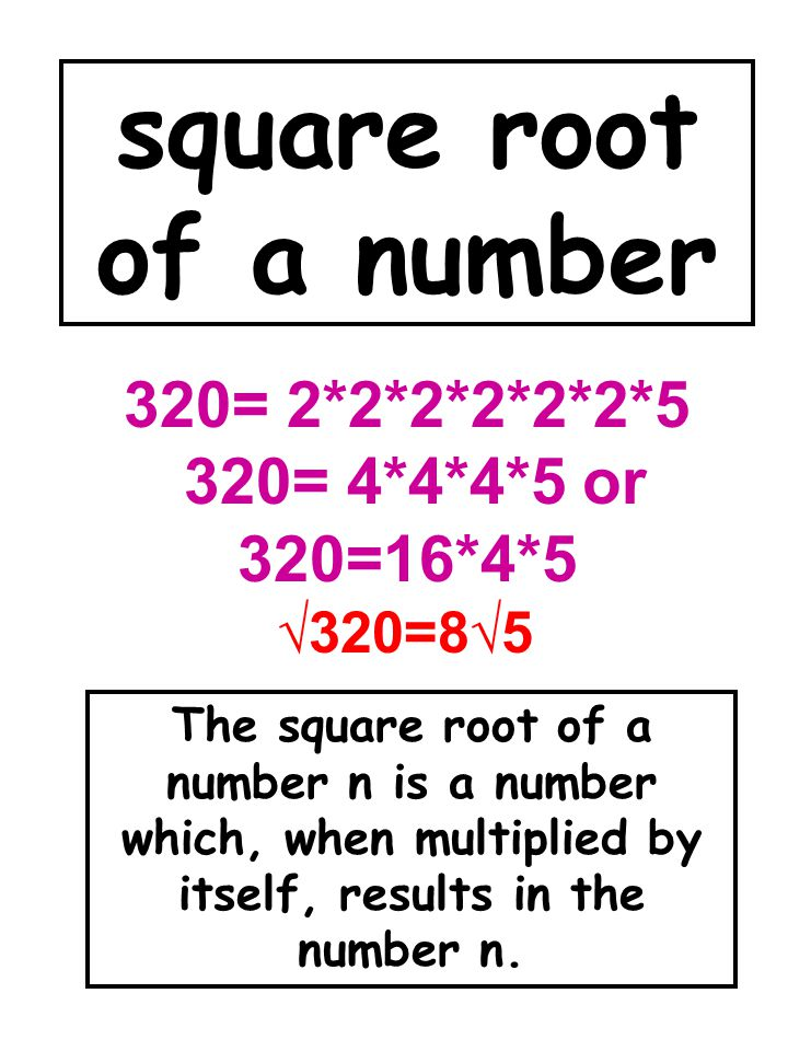 square root of a number 320= 2*2*2*2*2*2*5 320= 4*4*4*5 or 320=16*4*5