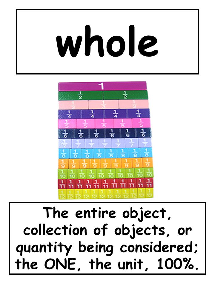 whole The entire object, collection of objects, or quantity being considered; the ONE, the unit, 100%.
