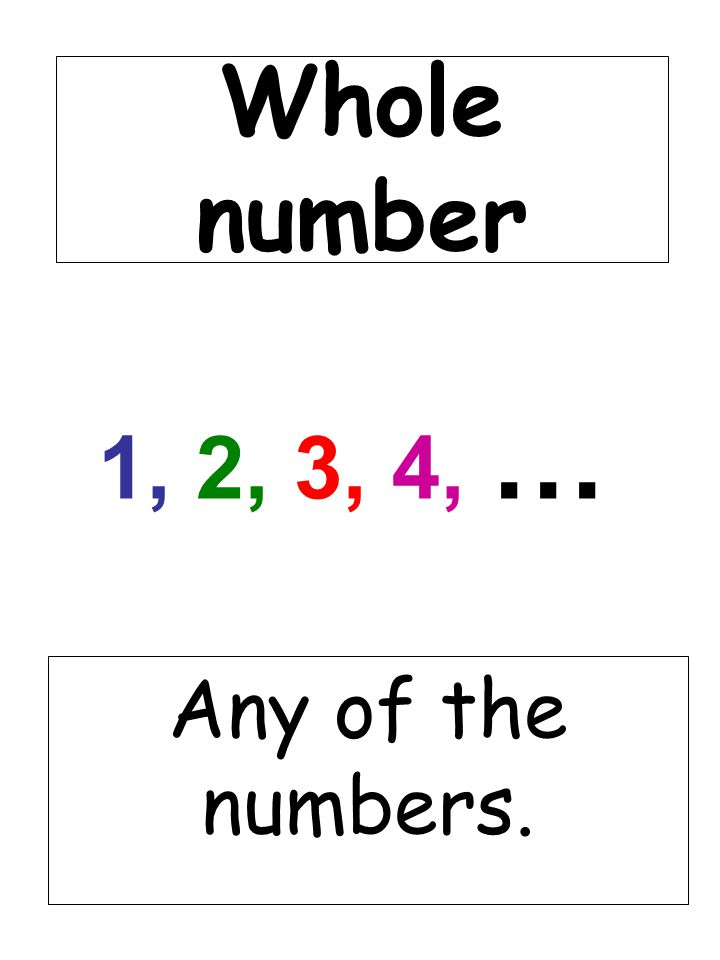 Whole number 1, 2, 3, 4, … Any of the numbers.