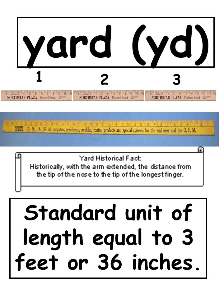 Standard unit of length equal to 3 feet or 36 inches.