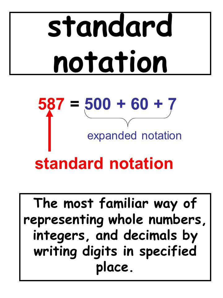 standard notation 587 = 500 + 60 + 7 standard notation