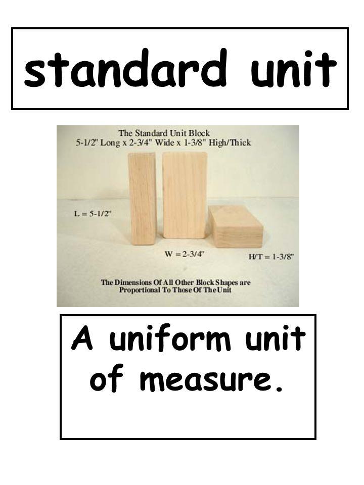 A uniform unit of measure.
