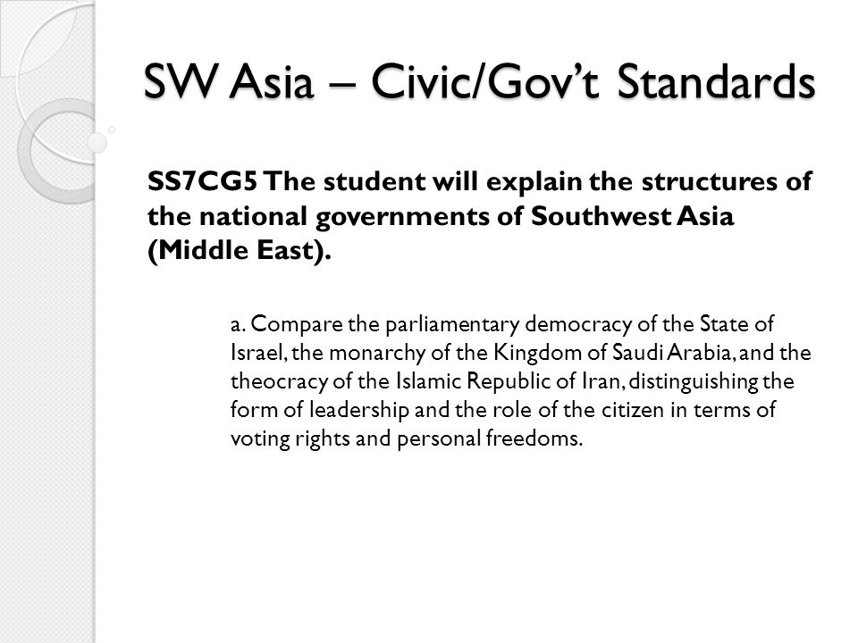 SW Asia – Civic/Gov't Standards