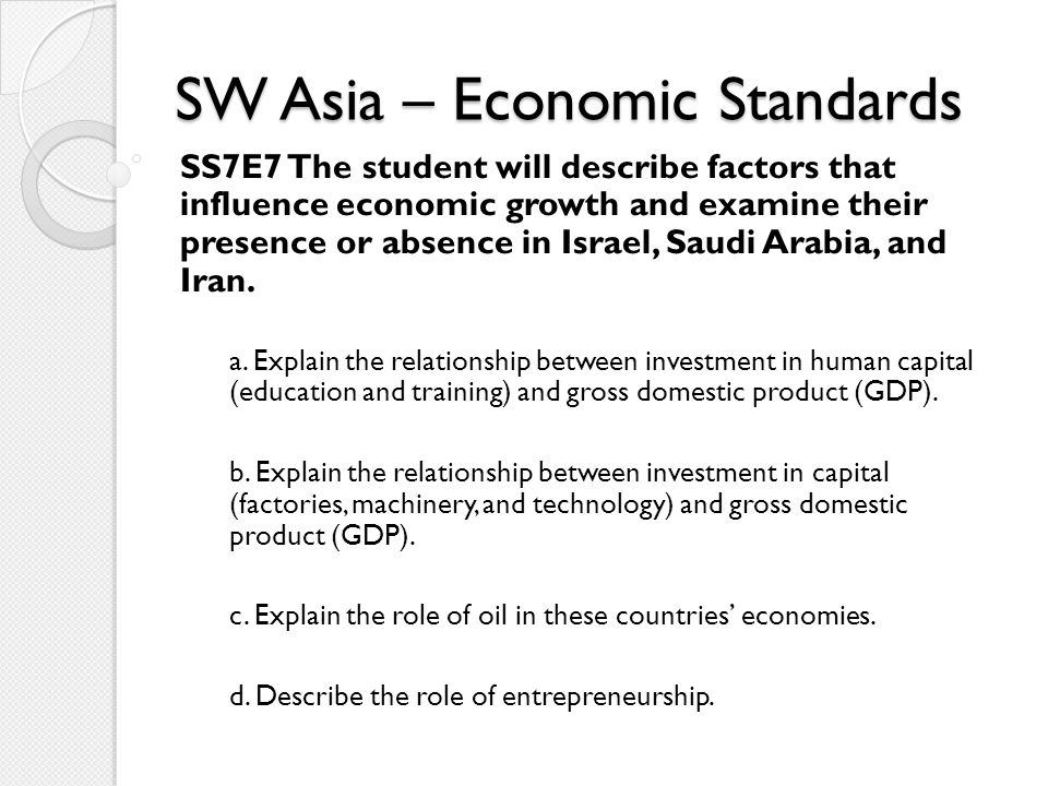 SW Asia – Economic Standards