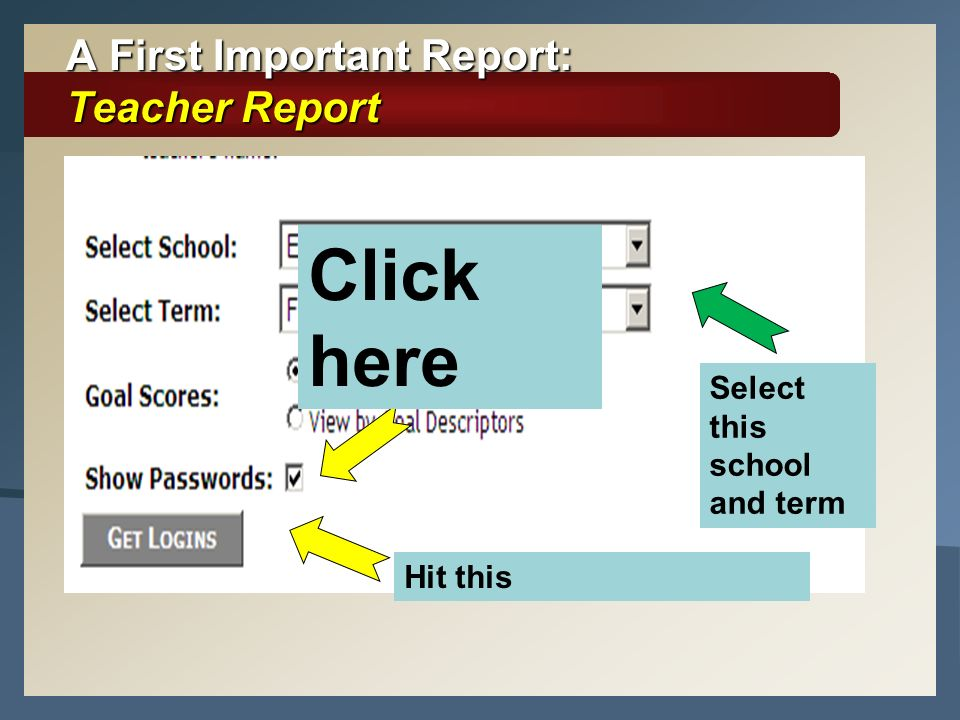 A First Important Report: Teacher Report