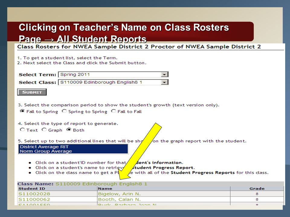 Clicking on Teacher's Name on Class Rosters Page → All Student Reports