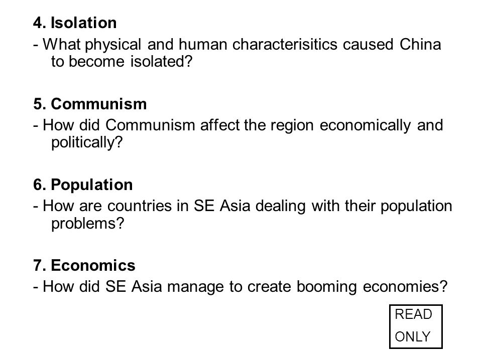 - How did Communism affect the region economically and politically