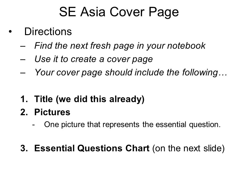 SE Asia Cover Page Directions
