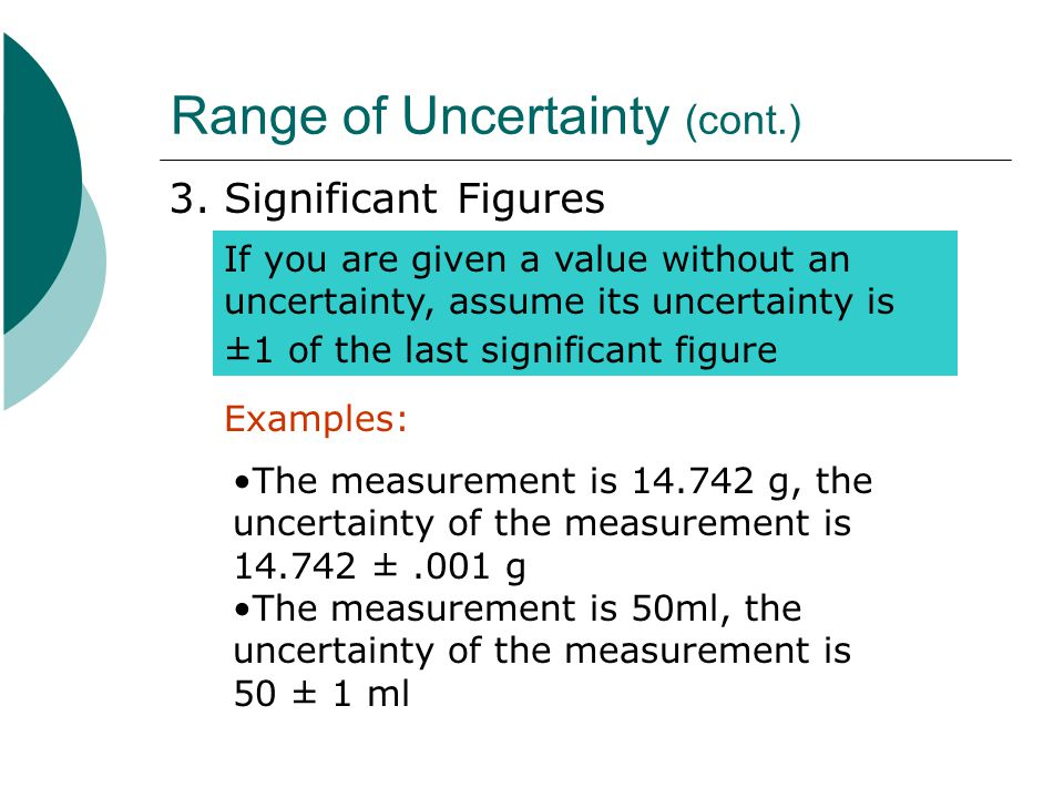 Range of Uncertainty (cont.)