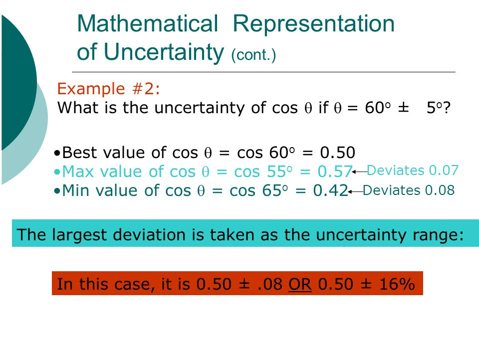 Mathematical Representation of Uncertainty (cont.)
