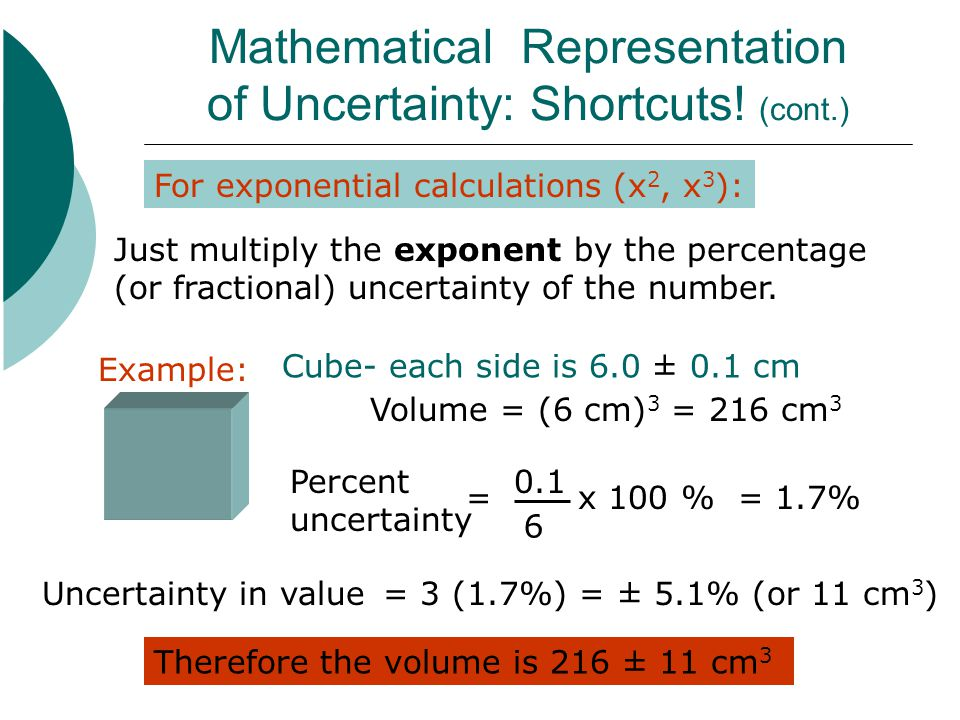 Mathematical Representation of Uncertainty: Shortcuts! (cont.)